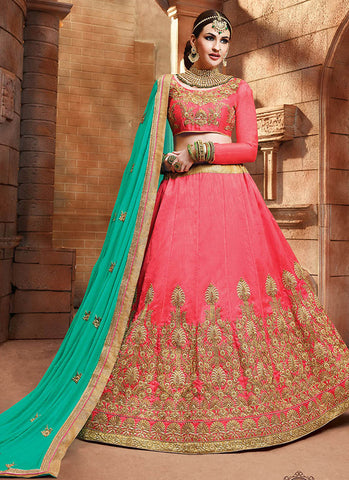 Peach Satin silk reception wear lehenga choli