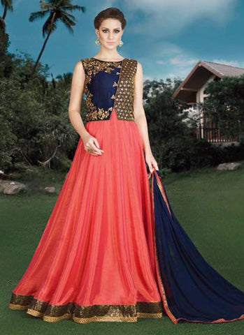 Pink and blue Silk Bridal Embroidered Anarkali Suit