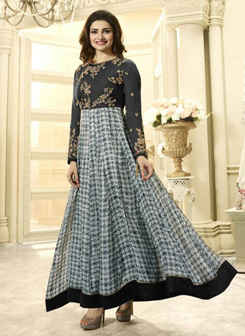Georgette Grey Embroidered Anarkali Suit
