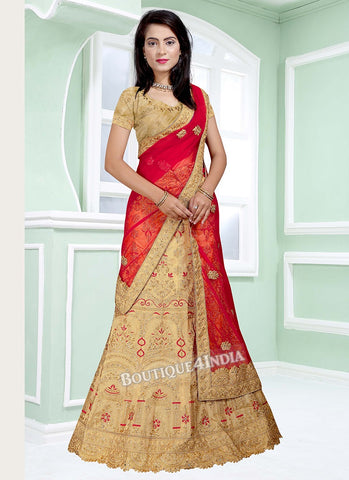 Golden Banglori silk heavy embroidery work lehenga choli