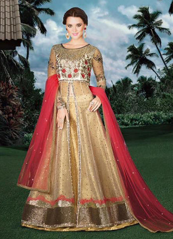 Golden Net Bridal Embroidered Anarkali Suit