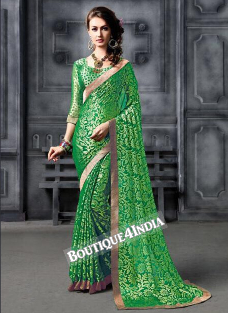 Green Brasso Party Wear Zari Work Saree