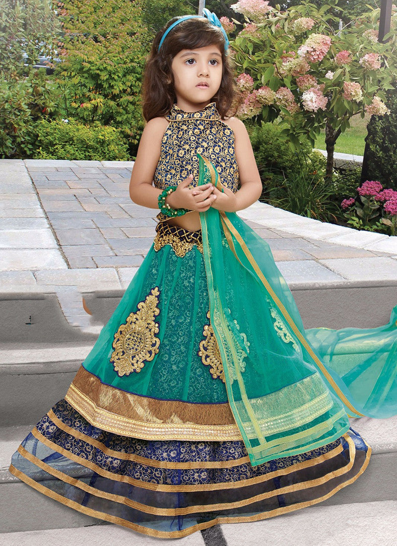 Girl's Dark blue and turquoise Lehenga Choli