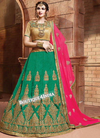 Green Satin silk reception wear lehenga choli