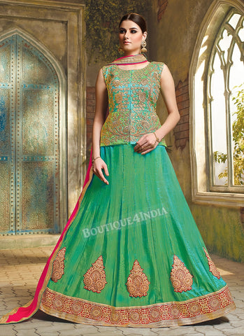 Light green embroidered crop top style Lehenga