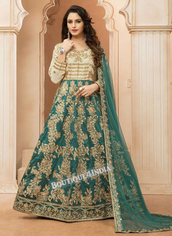 Green Tapeta Silk wedding wear Anarkali suit