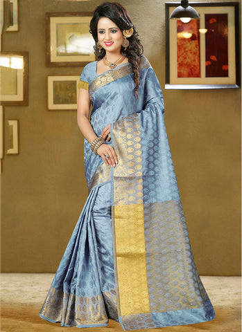 Light grey Art Silk and zari work Saree