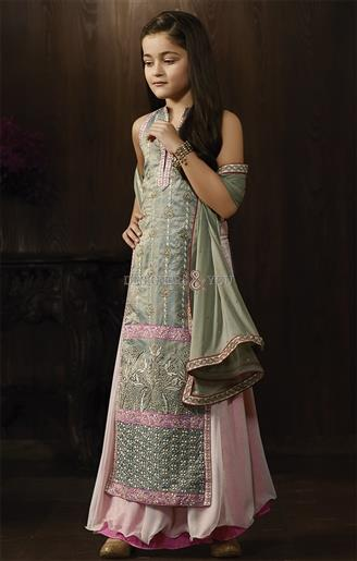 Girl's Olive Green Raw Silk Embroidered Anarkali Suit