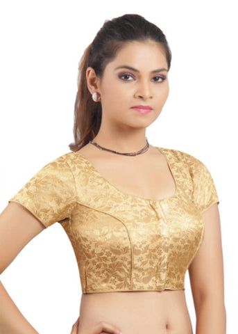 Golden Color Princess cut padded Jari / Brocade ready made blouse