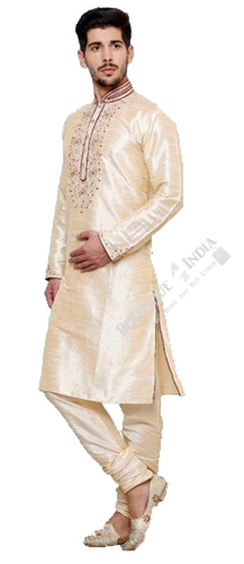Men's - Cream White and Maroon Kurta Set - Boutique4India Inc.