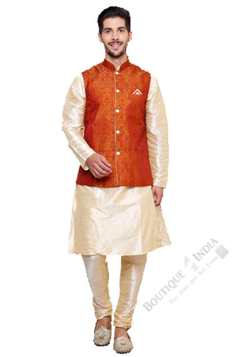 Men's - Coral and Cream White Kurta Set - Boutique4India Inc.