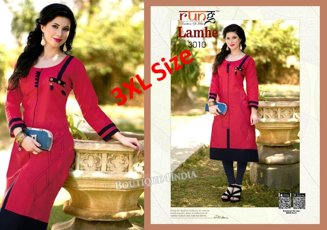 3XL Watermelon red Cotton 3/4 Kurtis