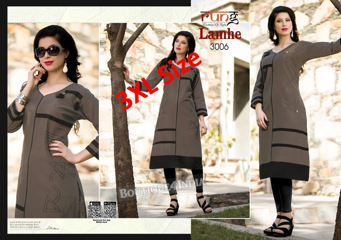 3XL Grey Cotton 3/4 Kurtis