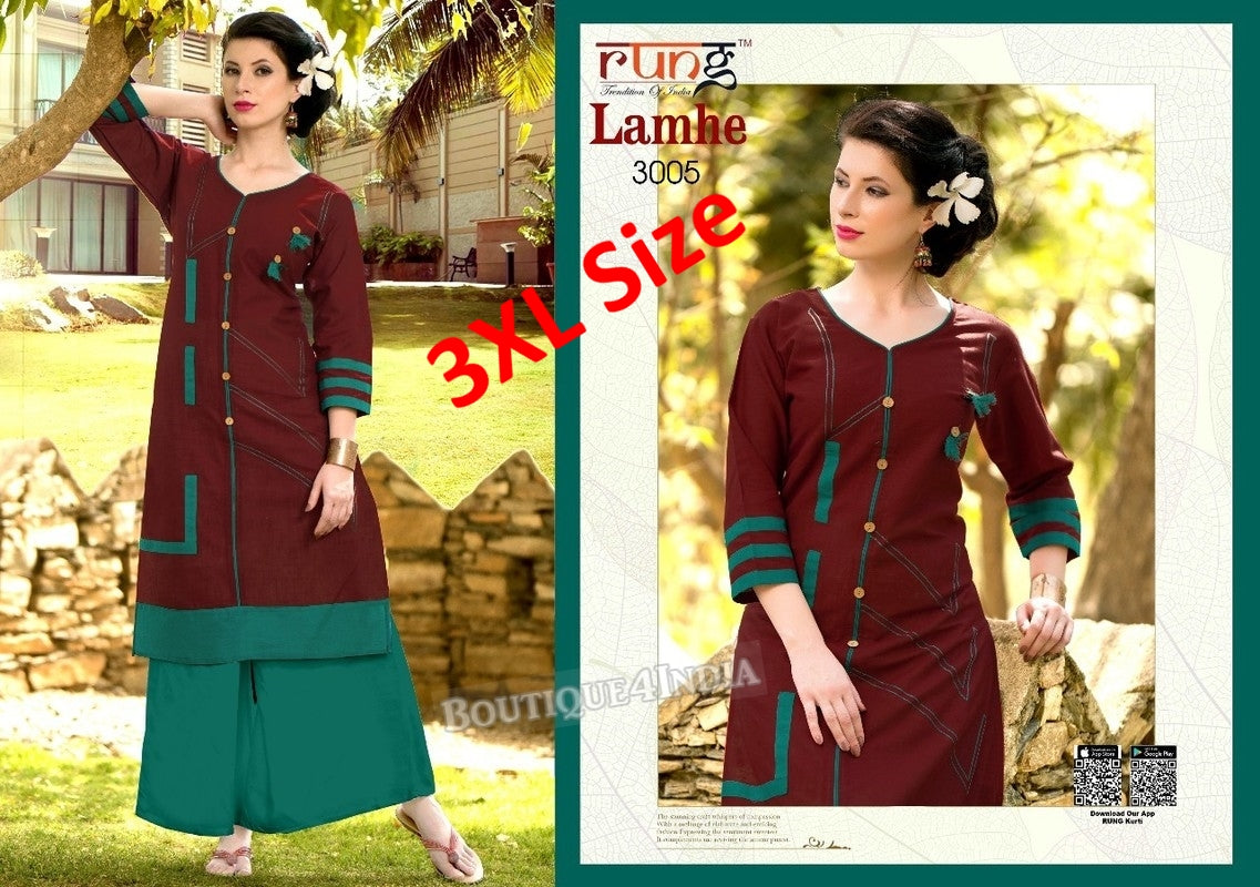 3XL Coffee Cotton 3/4 Kurtis