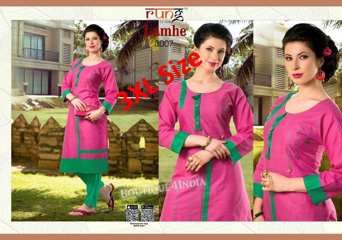 3XL Pink Cotton 3/4 Kurtis