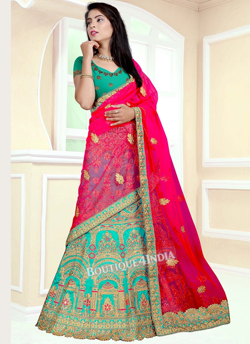 Light green Banglori silk heavy embroidery work lehenga choli