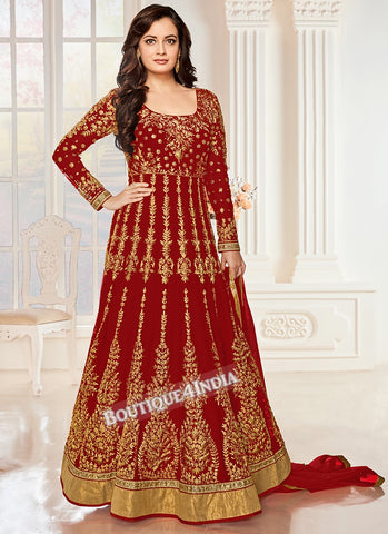 Maroon Sequins work Anarkali suit