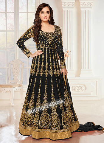 Black Sequins work Anarkali suit