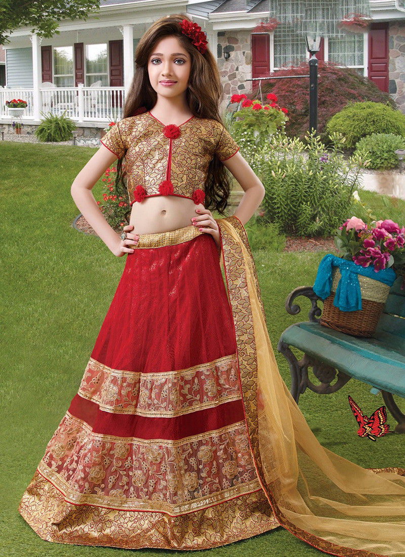 Girl's Maroon and golden Lehenga Choli