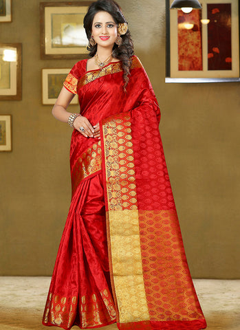 Red Art Silk and zari work Saree