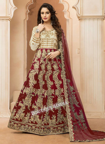 Maroon Tapeta Silk wedding wear Anarkali suit