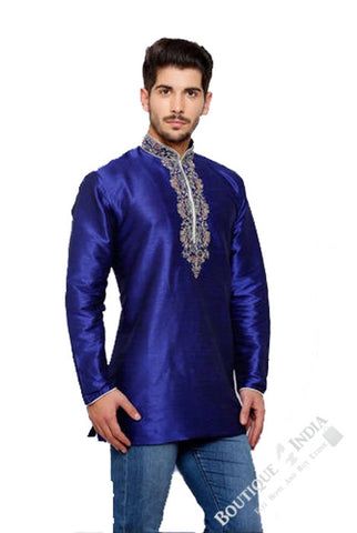 Men's - Royal Blue Silk and Embroidered Kurta - Boutique4India Inc.