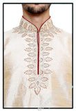 Men's - Cream White Silk and Embroidered Kurta - Boutique4India Inc.