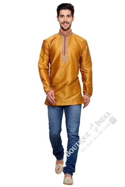 Men's - Golden Yellow Silk and Embroidered Kurta - Boutique4India Inc.
