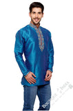 Men's - Sky Blue Silk and Embroidered Kurta - Boutique4India Inc.