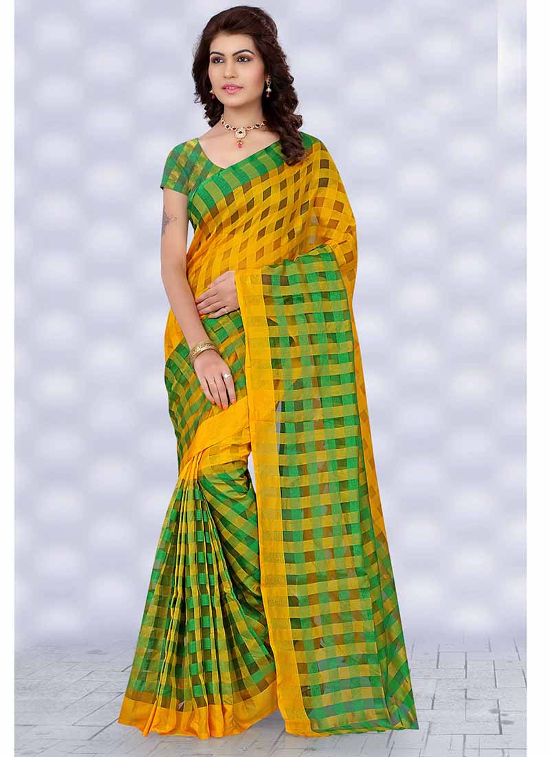 Light Green and yellow checkered tissue printed Saree