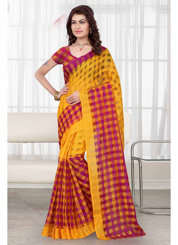 Maroon and yellow checkered tissue printed Saree