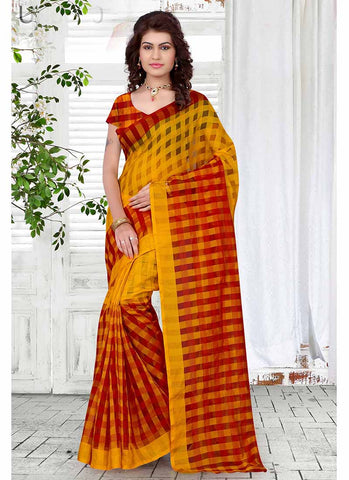 Red and yellow checkered tissue printed Saree