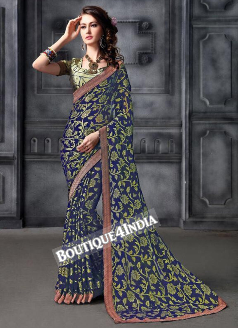 Navy Brasso Party Wear Zari Work Saree