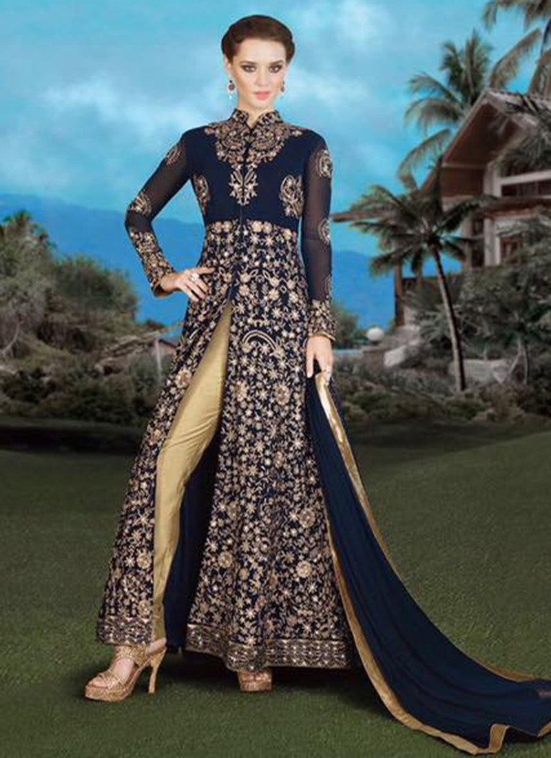 Navy blue Georgette Embroidered Anarkali Suit