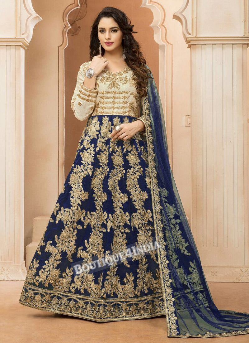 Navy Tapeta Silk wedding wear Anarkali suit