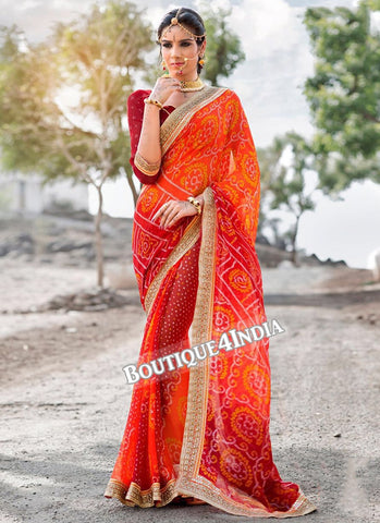 Orange Georgette Bandhani Print Saree