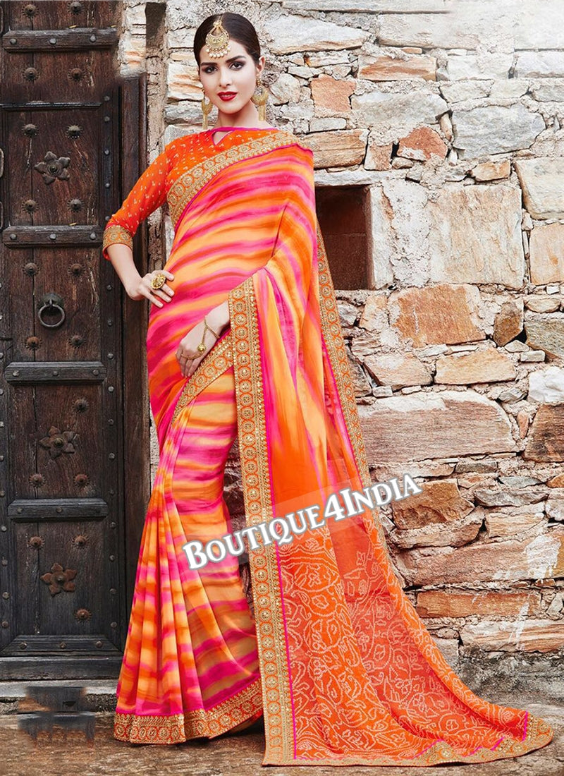 Orange Striped Georgette Bandhani Print Saree