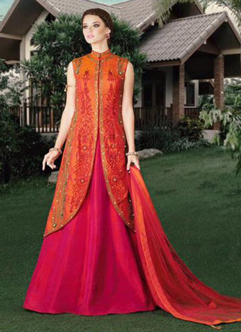 Orange Silk Bridal wear Embroidered Anarkali Suit