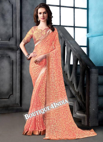 Peach Brasso Party Wear Zari Work Saree