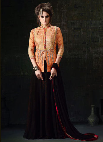 Peach Silk Embroidered Anarkali Suit