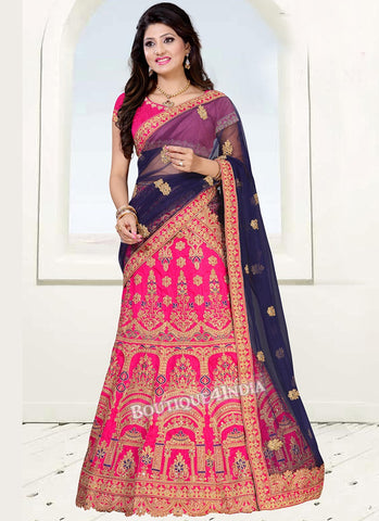 Pink Banglori silk heavy embroidery work lehenga choli