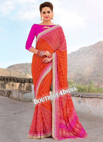 Pink and Orange Georgette Bandhani Print Saree