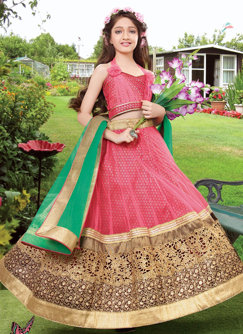 Girl's Pink and green Lehenga Choli