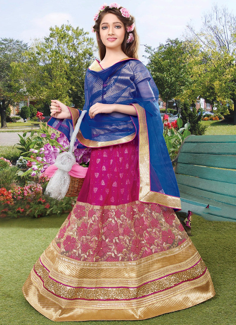 Girl's Pink and golden Lehenga Choli