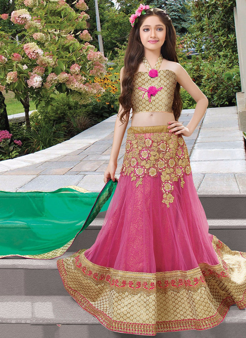 Girl's Pink and gold Net grand Lehenga Choli