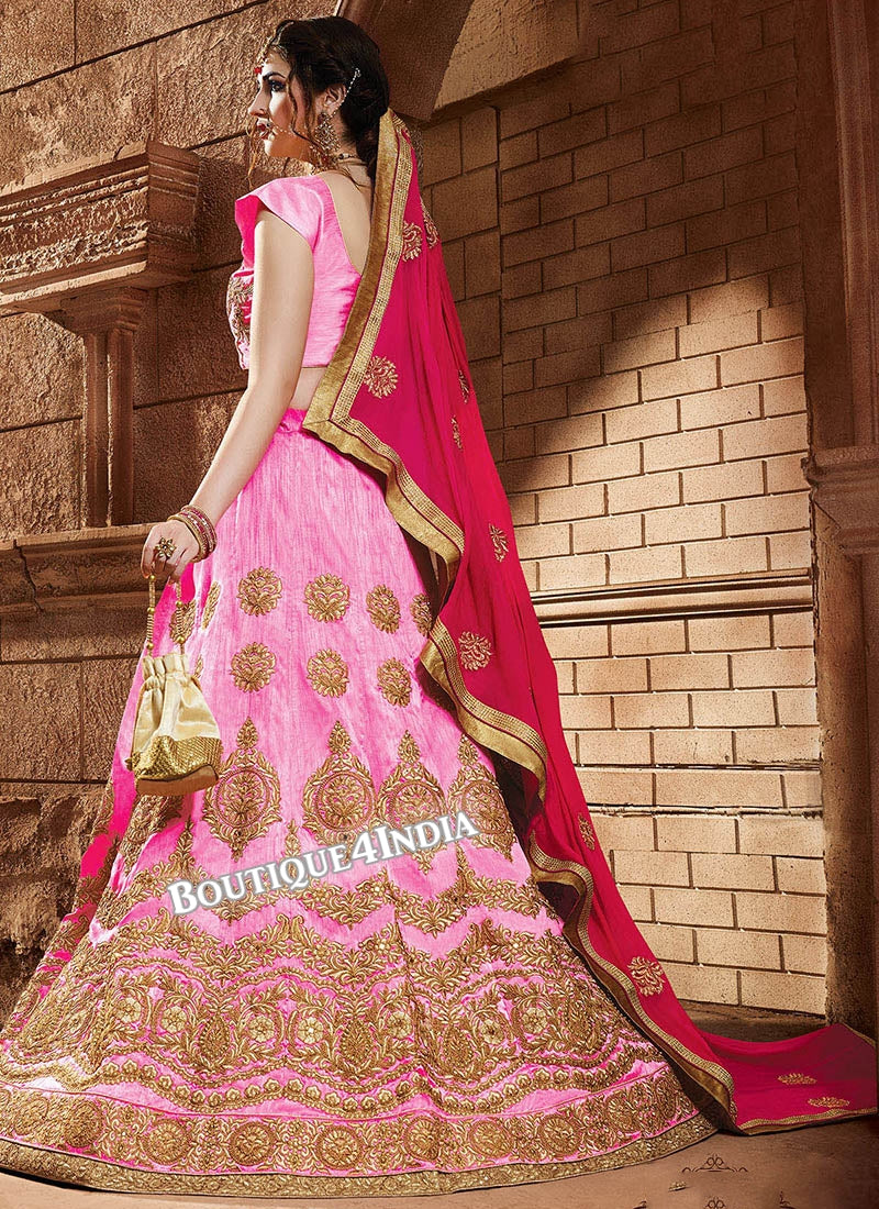 Baby Pink Satin silk reception wear lehenga choli