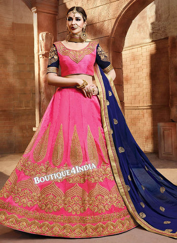 Pink Satin silk embroidered lehenga choli