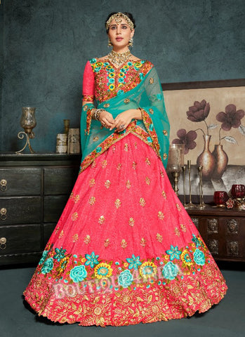Pink Silk Bridal Embroidered Lehenga