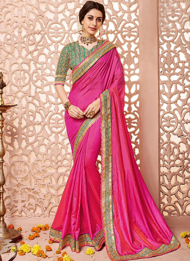 Pink and green Art Silk Party Wear Heavy Embroidered Saree