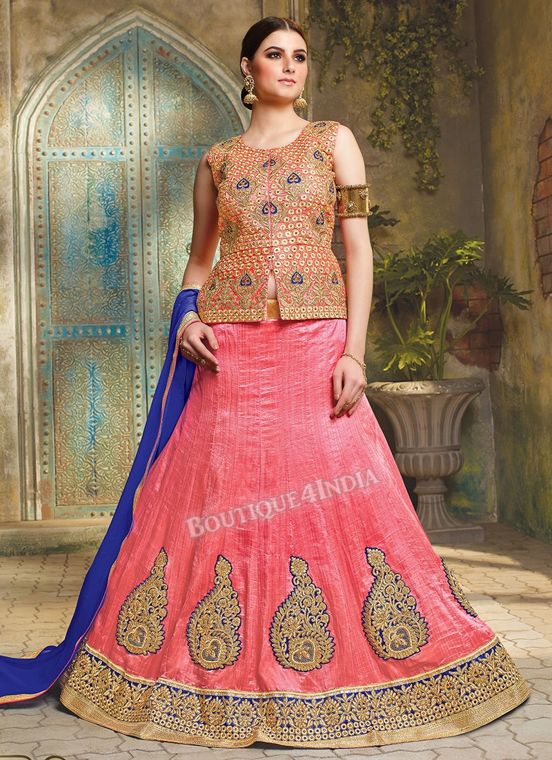b483be95edd6aa Boutique4India - Discount Coupon Codes. Home › Pink Silk heavy embroidered crop  top style Lehenga